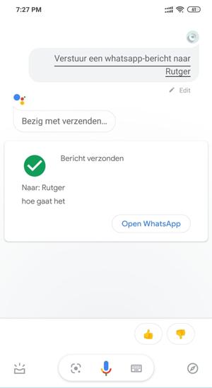 whatsapp berichten versturen google assisten